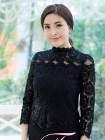 (สีดำไซส์ 3XL) เสื้อทำงานแฟชั่น เสื้อใสไปงานศพ ผ้าลูกไม้มีซับใน คอเต่า แขนยาวผ้าลูกไม้โปร่ง ซิปหลัง (ใหม่ พร้อมส่ง) ร้าน LadyShop4U