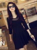 ชุดเดรสสั้นแฟชั่นเกาหลี คอกลม แต่งลูกไม้ แขนสามส่วน กระโปรงบาน สีดำ เนื้อผ้านุ่มสบาย (ใหม่ พร้อมส่ง) ร้าน Ladyshop4u