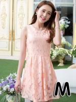 (สีส้มอ่อน ไซส์ M) ชุดเดรสแซกสั้นแฟชั่นเกาหลี ชุดเดรสผ้าลูกไม้สีส้มอ่อน คอกลม แขนกุด มีซับใน กระโปรงบานจีบทวิต ซิปหลัง (ใหม่ พร้อมส่ง) ร้าน Ladyshop4u