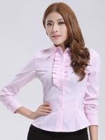 (สีชมพูอ่อน)เสื้อเชิ้ตทำงานแฟชั่นเกาหลี เสื้อเชิ๊ตทำงาน ผ้าฝ้าย คอปก แขนยาว กระดุมหน้า (ใหม่ พร้อมส่ง) ร้าน LadyShop4U