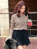 ชุดเดรสแฟชั่น ชุดเดรสเกาหลี สีดำลายเสือ เสื้อคอกลมแขนยาว กระโปรงสีดำ (ใหม่ พร้อมส่ง) ร้าน Ladyshop4 u