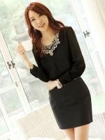 (สีดำ)เสื้อผ้าแฟชั่นเกาหลีทำงานออฟฟิศ สีดำ คอกลม แขนยาวผ้าชีฟอง ผ้าชีฟอง ปักดิ้นที่คอ( ใหม่ พร้อมส่ง) ร้าน LadyShop4U