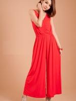 จั๊มสูทกางเกงขายาว สีแดง ผ้ายืดเนื้อผ้ายืดหยุ่นิ้งตัว จั๊มเอวยางยืด สวมใส่สบาย (ใหม่ พร้อมส่ง)ร้าน LadyShop4U