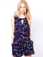 ชุดเดรสกางเกงขาสั้น จั๊มสูทกางเกง สีน้ำเงิน ผ้าชีฟอง (ใหม่ พร้อมส่ง) ร้าน Ladyshop4u