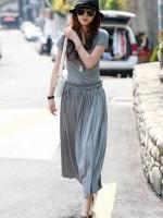 (สีเทา)ชุดเดรสแซกยาวเกาหลีนำเข้า สีเทา คอกลม แขนสั้น เข้ารูป ผ้ายืด(ใหม่ พร้อมส่ง) ร้าน Ladyshop4u