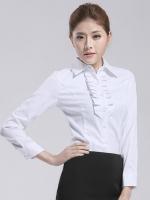 (สีขาว)เสื้อเชิ้ตทำงานแฟชั่นเกาหลี เสื้อเชิ๊ตทำงาน ผ้าฝ้าย คอปก แขนยาว กระดุมหน้า (ใหม่ พร้อมส่ง) ร้าน LadyShop4U