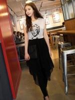 ชุดเดรสยาว เดรสแฟชั่นเกาหลี เสื้อคอกลม แขนกุด กระโปรงยาวสีดำ เดรสเกาหลี เดรสทำงาน เดรสแฟชั่น เดรสลำลอง (ใหม่ พร้อมส่ง) ร้าน Ladyshop4u