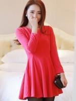 (สีแดง)ชุดเดรสแซกสั้นแฟชั่นเกาหลี สีแดง แขนยาว ผ้ายืดเนื้อทราย กระโปรงสวิง (ใหม่ พร้อมส่ง) ร้าน Ladyshop4u