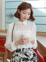 (สีขาว)เสื้อเชิ้ตทำงานแฟชั่นเกาหลีออฟฟิศ เสื้อทำงาน คอปก แขนยาว ช่วงอกเป็นผ้าลูกไม้ (ใหม่ พร้อมส่ง) ร้าน LadyShop4U