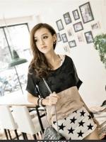 เสื้อแฟชั่น เสื้อทำงาน เสื้อลำลอง สีน้ำตาล เสื้อสองชิ้น คอกลม (ใหม่ พร้อมส่ง) ร้าน LadyShop4u