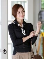 (สีดำ ไซส์ M) เสื้อทำงานแฟชั่นเกาหลีออฟฟิศ เสื้อเชิ้ต คอปก แขนยาว แต่งกระดุมปลายแขน กระดุมหน้า เข้ารูป (ใหม่ พร้อมส่ง) ร้าน LadyShop4U