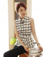 เสื้อทำงาน แฟชั่นเกาหลี คอปก ไม่มีแขน สีขาวลายตารางดำ แถมเข็มขัดตามรูป (ใหม่ พร้อมส่ง) ร้าน Ladyshop4u