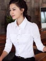 (สีขาว)เสื้อเชิ้ตทำงานแฟชั่นเกาหลี เสื้อเชิ๊ตทำงาน ผ้าชีฟอง คอปก แขนยาว กระดุมหน้า (ใหม่ พร้อมส่ง) ร้าน LadyShop4U