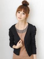 (สีดำ)เสื้อทำงานแฟชั่นเกาหลี เสื้อคลุมทำงานออฟฟิศสีดำ แขนยาว ผ้าชีฟอง (ใหม่ พร้อมส่ง) ร้าน LadyShop4U