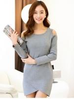 (สีเทา)ชุดเดรสแซกสั้นแฟชั่นเกาหลี คอกลม แขนยาว เว้าไหล่ติดหมุด ผ้ายืดเนื้อนิ่ม เข้ารูป เซ็กซี่ หวาน (ใหม่ พร้อมส่ง) ร้าน Ladyshop4u