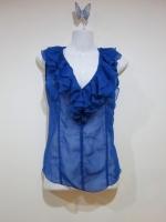 เสื้อทำงาน เสื้อชีฟอง แขนกุด สีน้ำเงิน ผ้าชีฟอง เบาสบาย ไม่มีซับใน (ใหม่ พร้อมส่ง) ร้าน Ladyshop4U