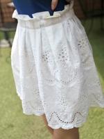 (สีขาว)กระโปรงทำงานสั้น แฟชั่นเกาหลี สีขาว ผ้าป่านฉลุ (ใหม่ พร้อมส่ง) ร้าน Ladyshop4U