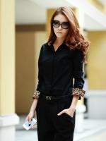 (สีดำ)เสื้อผ้าแฟชั่นเกาหลีทำงานออฟฟิศ สีดำ คอปกแขนยาวลายเสือ กระดุมหน้า( ใหม่ พร้อมส่ง) ร้าน LadyShop4U