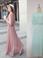 (สีเขียวมิ้น) ชุดเดรสแซกยาวเกาหลี ผ้าชีฟอง คอกลม แขนสามส่วนผ่าด้านบน เอวด้านหลังเป็นยางยืด ซิปข้าง มีซับใน (ใหม่ พร้อมส่ง) ร้าน LadyShop4u