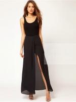 กระโปรงยาว ผ่าหน้า สีดำ ผ้าชีฟอง ซิปข้าง ใส่กับเสื้อคอกลม แขนกุด สีพื้น จะสวยมาก ๆ คะ(ใหม่ พร้อมส่ง) ร้าน Ladyshop4u