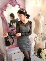 เดรสออกงาน (mini dress) เดรสสั้นเข้ารูป คอกลม แขนยาวผ้าลูกไม้สีดำ ลำตัวสีเทาผ้ายืดเข้ารูป เรียบ ดูดี สง่ามาก (ใหม่ พร้อมส่ง) ร้าน LadyShop4U