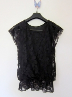 เสื้อผ้าลูกไม้ เสื้อทำงาน เสื้อแฟชั่น เสื้อลำลอง สีดำ แขนผ้าลูกไม้ เอวจั้ม เซ็กซี่เล็กน้อย ซับในสีดำ (ใหม่ พร้อมส่ง) Ladyshop4u