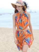 (สีส้ม) ชุดเดรสแซกสั้นเกาหลี เที่ยวทะเล ชุดไปทะเล ผ้าชีฟอง พิมพ์ลายขนนก คอจีบ แขนกุด พร้อมเข็มขัดสีน้ำตาล ฟรีไซส์ค่ะ(ใหม่ พร้อมส่ง) ร้าน LadyShop4u