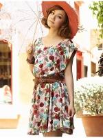 Pre order (ลายดอก)เชุดดรสแซกสั้นแฟชั่นเกาหลี ผ้าชีฟอง พิมพ์ลายดอกไม้สีแดง แถมเข็มขัด (ใหม่ พรีออเดอร์) ร้าน Ladyshop4u