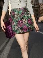 กระโปรงแฟชั่น กระโปรงเอวสูง สีเขียว ผ้าผ้าสักหลาด + mercerized (ใหม่ พร้อมส่ง) ร้าน Ladyshop4u