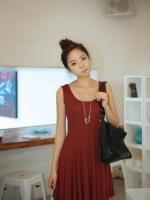 ชุดเดรสสั้น (mini dress) คอกลม แขนกุด เข้ารูป กระโปรงบาน สีแดงเข้ม ใส่ได้ทุกโอกาส (ใหม่ พร้อมส่ง) ร้าน Ladyshop4u