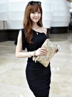 ชุดเดรสเข้ารูป สีดำ ผ้ายืด เฉียงข้างแต่งด้วยสายโซ่ (ใหม่ พร้อมส่ง) ร้าน Ladyshop4u