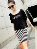 ชุดเดรสสั้นแฟชั่นเกาหลี ชุดเดรส 2 ชิ้น เดรสแขนกุดลายขวางขาวดำ + เสื้อครอปแขนค้างคาวสีดำ (ใหม่ พร้อมส่ง) ร้าน Ladyshop4u