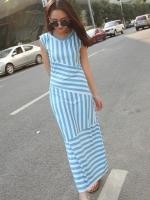 maxi dress สีฟ้า แขนกุด ผ้า ice-cotton ลายทาง ทรงสวยเข้ารูป สวยเก๋ ดูมีสไตล์ค่ะ (ใหม่ พร้อมส่ง) ร้าน Ladyshop4u