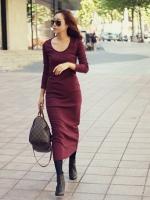 Pre order (สีแดง)ชุดเดรสแซกยาวเกาหลีนำเข้า สีแดง คอกลม แขนยาว เข้ารูป ผ้ายืด (ใหม่ พรีออเดอร์)ร้าน Ladyshop4u