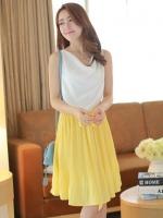 (สีเหลือง) ชุดเดรสแซกสั้นแฟชั่นเกาหลีแนวหวาน สีเหลือง คอย้วย แขนกุด เอวยางยืด กระโปรงอัดพลีทสีเหลือง แถมผ้าผูกเอว(ใหม่ พร้อมส่ง) ร้าน Ladyshop4u