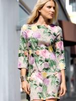 (สีเขียว) ชุดเดรสสไตล์ยุโรป ผ้าชีฟอง สีเขียวลายดอกไม้ เสื้อคอกลม แขนสามส่วน เดรสเข้ารูปทรงกระบอก (ใหม่ พร้อมส่ง) ร้าน Ladyshop4u