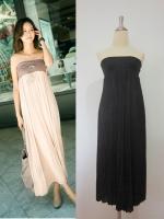 (สีดำ) กระโปรง/เดรสเกาะอก : ช่วงเอวเป็นผ้าคอตตอนยางยืด กระโปรงยาวอัดพลีท มีซับในเต็มตัว สามารถใส่เป็นชุดเดรสเกาะอกได้ค่ะ (ใหม่ พร้อมส่ง) ร้าน LadyShop4u
