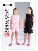 แพทเทิร์นตัดชุดเด็กหญิง เสื้อ กางเกง เดรส see&sew B4161 size: 7-8-10-12-14 ขวบ