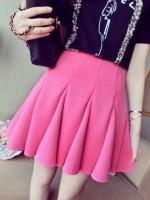(สีชมพูบานเย็น) กระโปรงสั้น จับจีบทรงสวย กระโปรงสวิง สีชมพูบานเย็น ผ้าใยสังเคราะห์ อยู่ทรงสวย เอวยืด(ใหม่ พร้อมส่ง) ladyshop4U