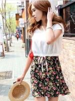 (สีดำแดง)ชุดเดรสแซกสั้นแฟชั่นเกาหลี 2 ชิ้น เดรสคอกลม แขนกุด ลายดอก ผ้านิ่ม เสื้อสีครีมผ้าชีฟองโปร่ง คอกลม แขนกุด ปลายเสื้อมีเชือกผูก (ใหม่ พร้อมส่ง) ร้าน Ladyshop4u