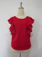 (สีแดง) เสื้อแฟชั่นทำงานออฟฟิศเกาหลี สีแดง ด้านหน้าคอกลม ด้านหลังคอวี แขนระบาย ซิปหลัง ผ้าคอตตอน (ใหม่ พร้อมส่ง) ร้าน LadyShop4U