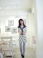 เสื้อแฟชั่น เสื้อลำลอง สีขาว ลายดาว แขนสั้น คอกลม (ใหม่ พร้อมส่ง) Ladyshop4u