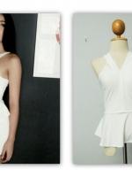 เสื้อผ้าแบบดารา,เสื้อตามแบบปุ๊กลุ๊ก เสื้อสีขาว เข้ารูป แต่งระบายช่วงปลายเสื้อ เสื้อแฟชั่น เสื้อออกงาน (ใหม่ พร้อมส่ง) ร้าน LadyShop4U