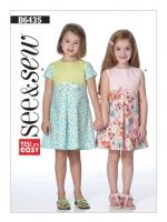 แพทเทิร์นตัดชุดเดรสเด็กหญิง Butterick 6435 size: 2-3-4-5-6-7-8 ขวบ