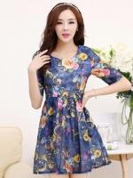 (สีน้ำเงิน)ชุดเดรสแซกสั้นแฟชั่นเกาหลี คอกลม แขนสามส่วน ลายดอก ซับในเต็มตัว กระโปรงบาน (ใหม่ พร้อมส่ง) ร้าน Ladyshop4u
