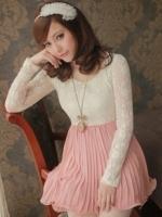 เดรสลูกไม้ เดรสทำงาน เดรสออกงาน เดรสสั้น เสื้อผ้าลูกไม้สีเหลืองอ่อน คอกลม แขนยาว มีซับใน ตัดต่อกระโปรงบายอัดพลีทสีชมพู มาพร้อมเข้มขัด (ใหม่ พร้อมส่ง) ร้าน LadyShop4u