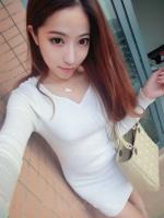 Pre order (สีขาว) ชุดเดรสแซกสั้นแฟชั่นเกาหลี คอวี แขนยาว เข้ารูป (ใหม่ พรีออเดอร) LadyShop4u