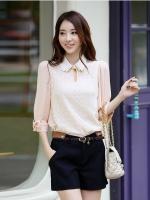 เสื้อทำงานแฟชั่น ผ้าชีฟองแบบหน้า คอปก แขนสามส่วน(ใหม่ พร้อมส่ง) ร้าน LadyShop4U