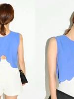 เสื้อเอวลอย แขนกุด โชว์หลัง สีฟ้า ปลายเสื้อตัดเป็นลูกคลื่น(สินค้าใหม่ พร้อมส่ง)
