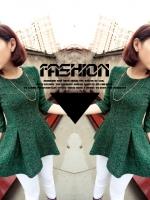เสื้อแขนยาว เสื้อแฟชั่น เสื้อทำงาน เสื้อคอกลม แขนยาว สีเขียว (ใหม่ พร้อมส่ง) Ladyshop4u